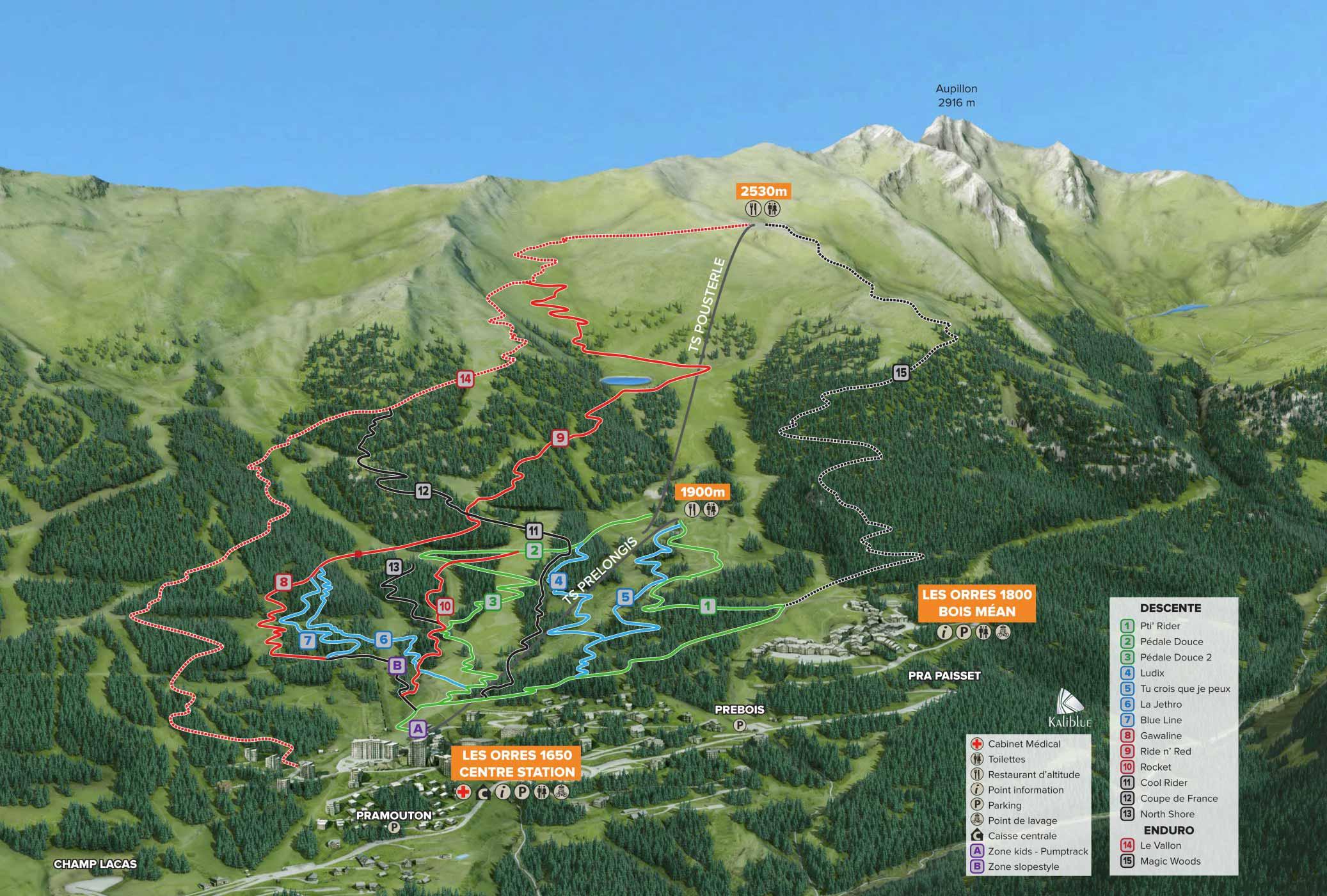 trail map les orres bike park 2017