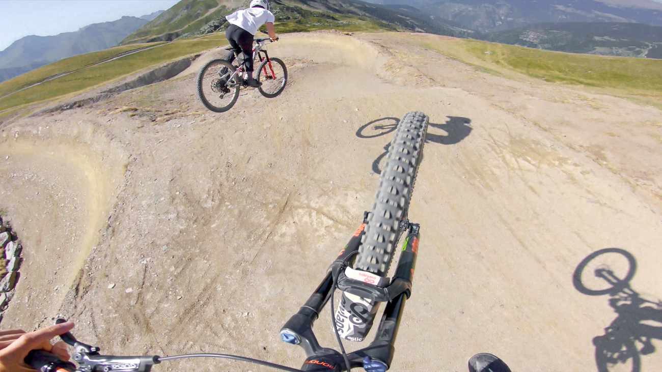 Damien Desbrosses and Tom Cosse filiming the new red line track at Meribel bike park for owlaps