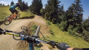 Les Gets bike park, plan des pistes VTT avec vidéos owlaps, Piste rouge La Roue Libre - video owlaps